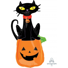 Halloween Black Cat on Pumpkin SuperShape Shaped Balloon