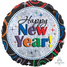Round Holographic Cheers Happy New Year! Foil Balloon 45cm