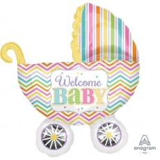 Baby Shower - General SuperShape Brights Carriage Shaped Balloon