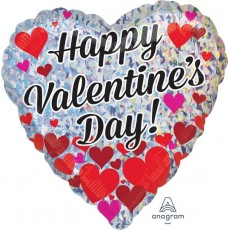 Heart Standard Holographic Heart Clusters Happy Valentine's Day Shaped Balloon 45cm