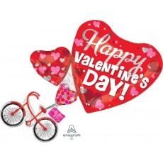 SuperShape XL Bike & Hearts Happy Valentine's Day! Shaped Balloon 66cm x 76cm