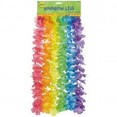 Hawaiian Luau Floral Rainbow Leis Costume Accessories