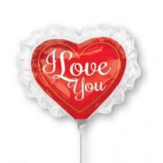 Heart Mini Shape Ruffle I Love You Shaped Balloon