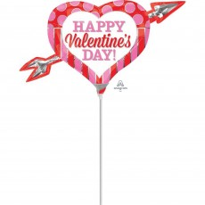 Valentine's Day Mini Shape Pink & Red Heart Arrow Shaped Balloon