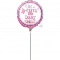 Round Shower with Love Girl It's a Baby Girl! Foil Balloon 23cm