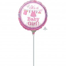 Round Shower with Love Girl It's a Baby Girl! Foil Balloon 10cm