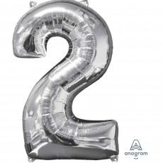 Number 2 Silver Mid-Size Shaped Balloon