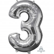 Number 3 Party Decorations - Shaped Balloon Mid-Size Silver 66cm