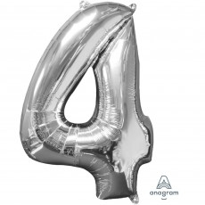Number 4 Party Decorations - Shaped Balloon Mid-Size Silver 66cm