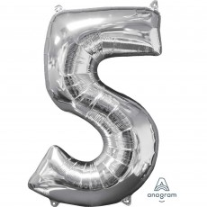 Number 5 Silver Mid-Size Shaped Balloon