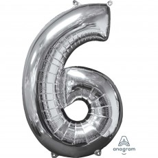 Number 6 Silver Mid-Size Shaped Balloon