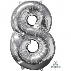 Number 8 Party Decorations - Shaped Balloon Mid-Size Silver 66cm