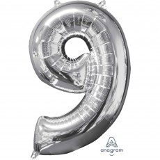 Number 9 Silver Mid-Size Shaped Balloon