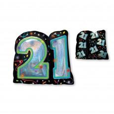 21st Birthday Brilliant Birthday SuperShape Holographic Shaped Balloon 68cm x 66cm