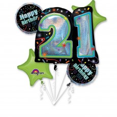 21st Birthday Jumbo Shape Bouquet Foil Balloons