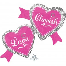 Heart Bachelorette Elegant Bride SuperShape XL Love Cherish Shaped Balloon