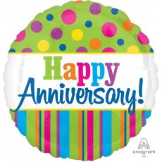 Anniversary Happy  Bright Dots & Stripes Foil Balloon