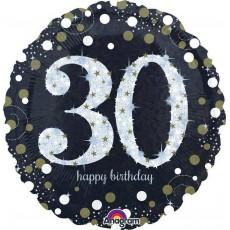 Round 30th Birthday Sparkling Celebration Standard Holographic Foil Balloon 45cm
