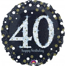 40th Birthday Sparkling Celebration Standard Holographic Foil Balloon