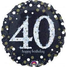 Round 40th Birthday Sparkling Celebration Standard Holographic Foil Balloon 45cm