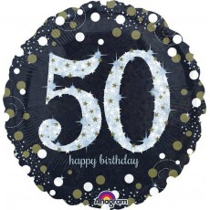 50th Birthday Sparkling Standard Holographic Foil Balloon