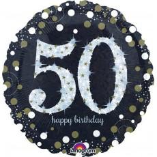 Round 50th Birthday Sparkling Standard Holographic Foil Balloon 45cm