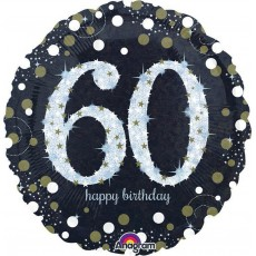 60th Birthday Sparkling Celebration Standard Holographic Foil Balloon