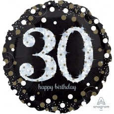 Round 30th Birthday Sparkling Celebration Jumbo Holographic Foil Balloon 71cm