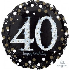 40th Birthday Sparkling Celebration Jumbo Holographic Foil Balloon