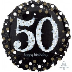 50th Birthday Sparkling Jumbo Holographic Shaped Balloon
