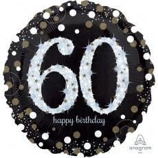 60th Birthday Sparkling Celebration Jumbo Holographic Shaped Balloon
