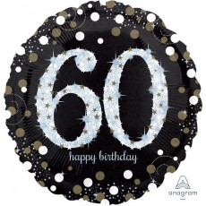 Round 60th Birthday Sparkling Celebration Jumbo Holographic Shaped Balloon 71cm