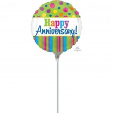 Anniversary Bright Stripes & Dots Foil Balloon