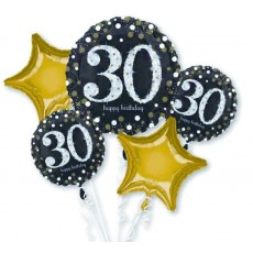 30th Birthday Black, Gold & Silver Sparkling Bouquet Foil Balloons