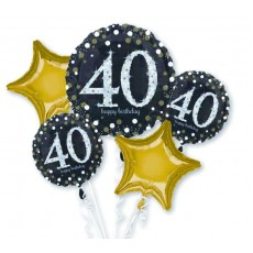 40th Birthday Black, Gold & Silver Sparkling Bouquet Foil Balloons