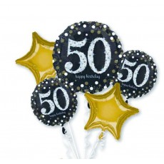 50th Birthday Sparkling Bouquet Foil Balloons Pack of 5