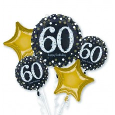 60th Birthday Black, Gold & Silver Sparkling Bouquet Foil Balloons