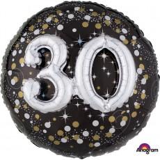 Round 30th Birthday Sparkling Celebration Multi-Balloon Holographic Foil Balloon 91cm