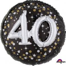 40th Birthday Sparkling Celebration Multi-Balloon Holographic Foil Balloon 91cm