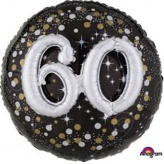 60th Birthday Sparkling Celebration Multi-Balloon Holographic Foil Balloon
