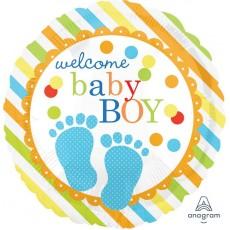 Round Baby Shower - General Standard HX Baby Feet Welcome Baby Boy Foil Balloon 45cm
