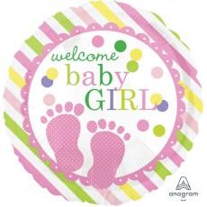 Round Baby Shower - General Standard HX Baby Feet Welcome Baby Girl Foil Balloon 45cm
