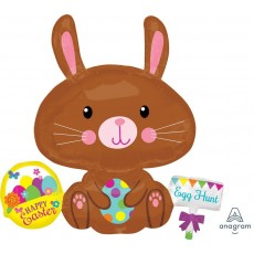SuperShape XL Bunny with Spotted Egg Happy Easter Shaped Balloon 73cm