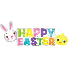 SuperShape XL Banner Happy Easter Shaped Balloon 111cm x 40cm