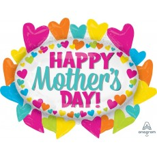 SuperShape XL Hearts Marquee Happy Mother's Day! Shaped Balloon 78cm x 63cm