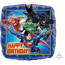 Square Justice League Standard HX Happy Birthday! Shaped Balloon 45cm