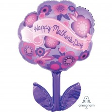 Mother's Day Junior Shape XL Purple & Pink Flowers Shaped Balloon