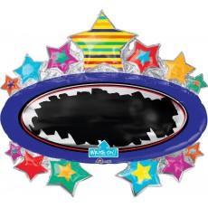Hollywood SuperShape XL Write-On Bright Star Black Board Marquee Shaped Balloon 78cm x 71cm