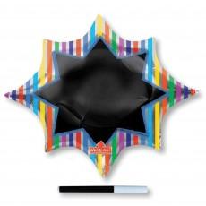 Star Multi Coloured SuperShape Write-On Burst Black Board Shaped Balloon 88cm x 73cm