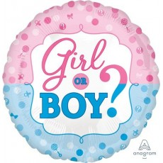Round Gender Reveal Standard HX Girl or Boy? Foil Balloon 45cm